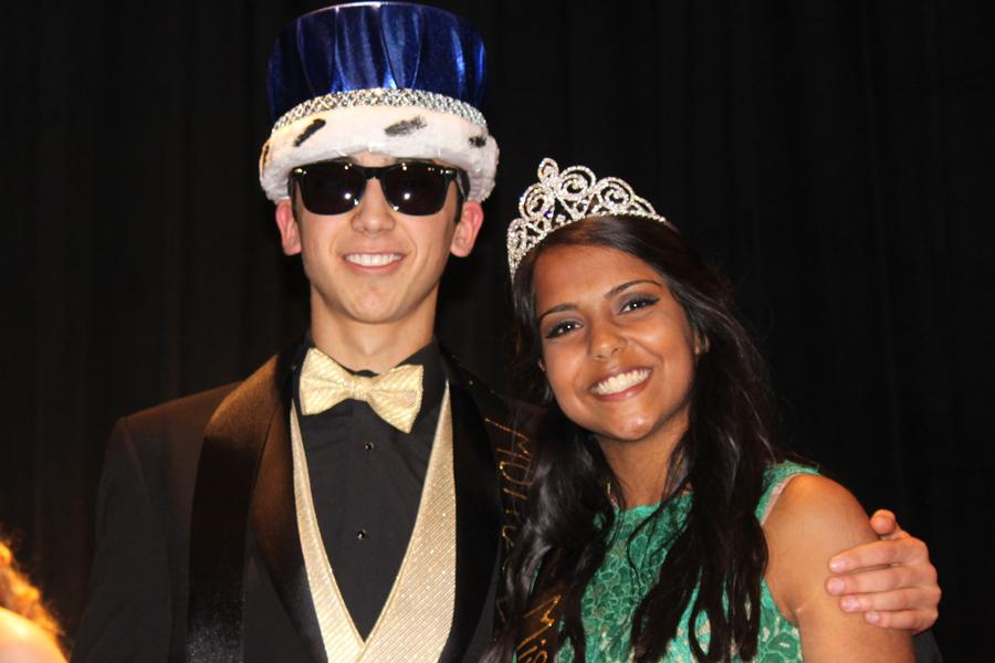 Senior Diego Martinez and junior Kanan Harbuck are all smiles after being crowned Mr. and Miss Montevallo at Montevallo's Day of Pageants, Saturday, Feb. 11.