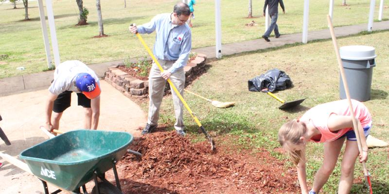 Students improve school grounds on Clean-Up Day