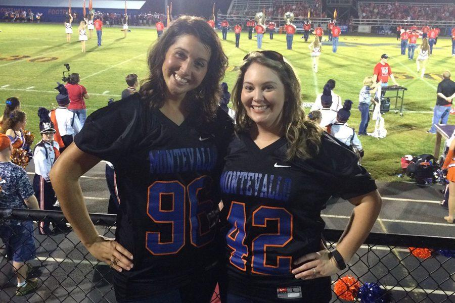 Lauren Sheehan and Jordan Brantley (l-r) wear the jerseys they were given for being selected as