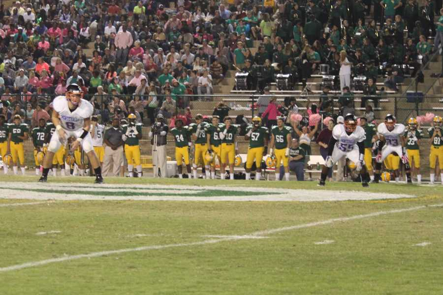 Senior Jackson Hughes lines up with the Bulldogs on a punt return.