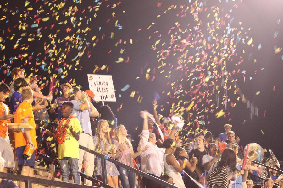 Seniors show their school spirit at the Homecoming Pep Rally.  The seniors won the spirit competition.
