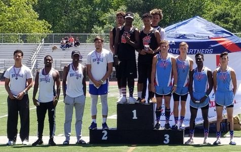 Just .03 seconds behind Weaver, Montevallo's 4 x 100 relay team takes second place at the state championship meet.