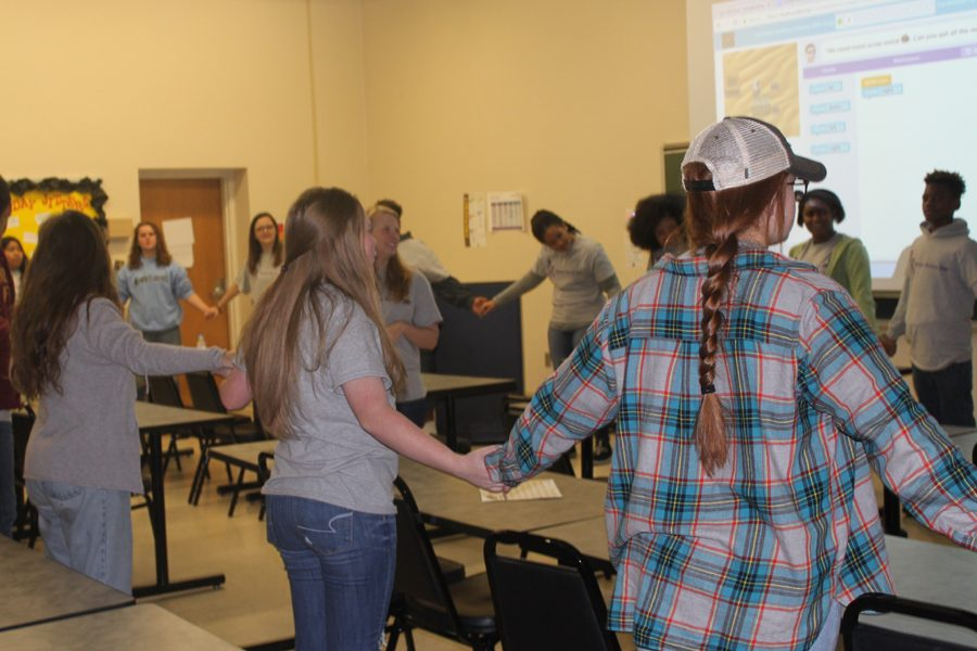 Eighth graders participate in a class on Life Skills at the University of Montevallo for Future Falcon Day.